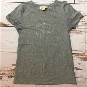 Michael Kors Grey with Silver Short Sleeve Tee L